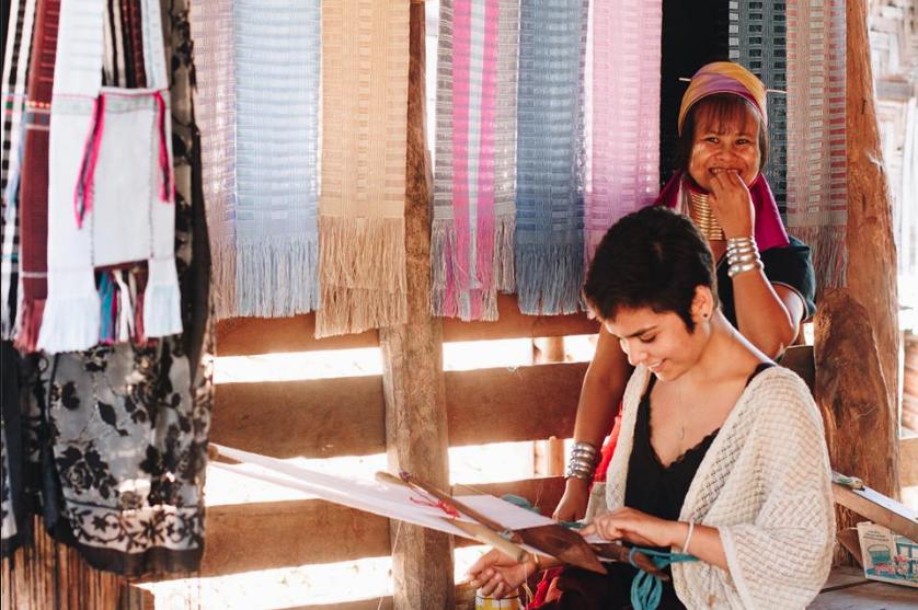 Mu Bee teaching Johanna traditional weaving skills