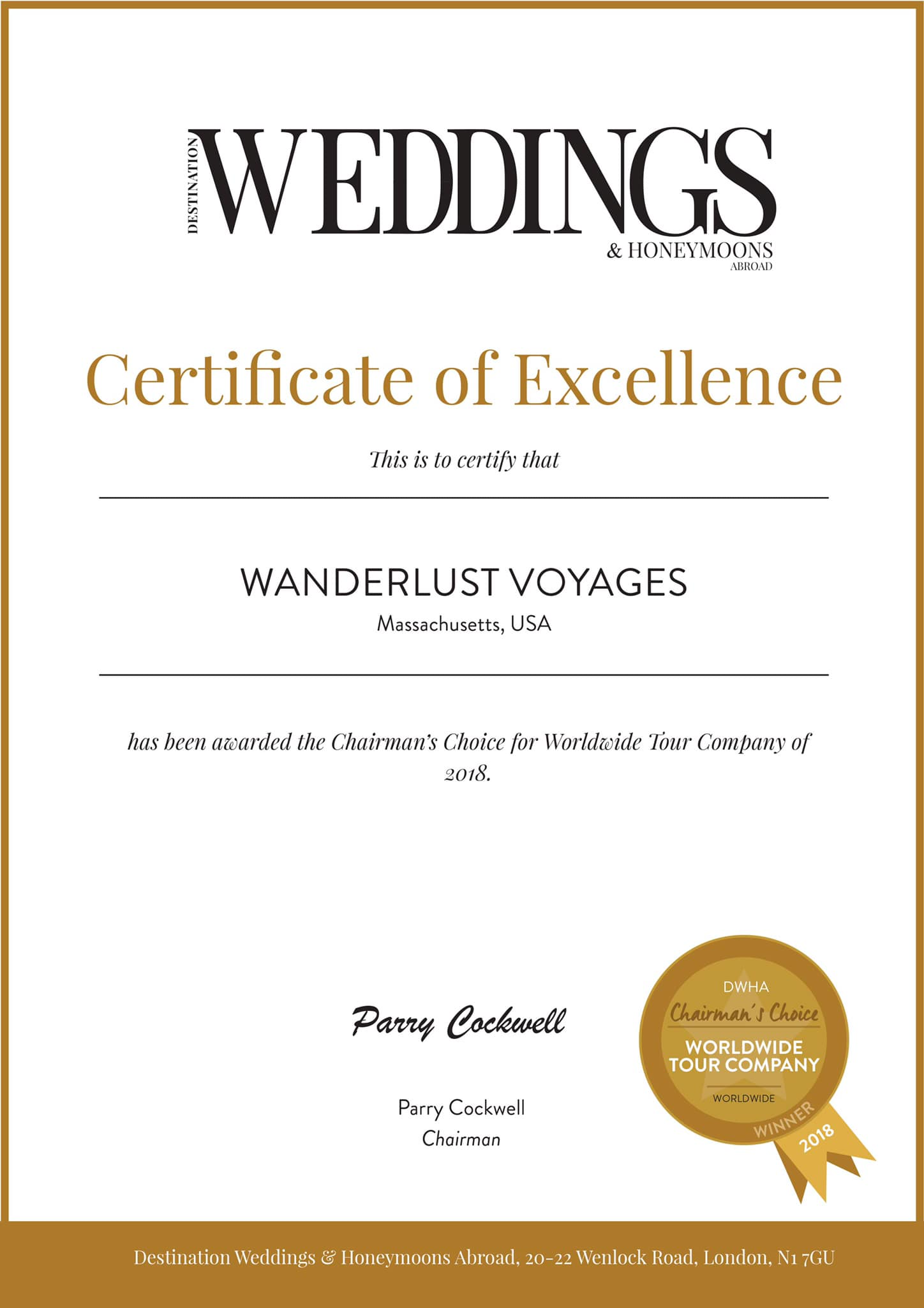 We are honored to have been awarded a  Certificate of Excellence by Destination Wedding and Honeymoons Abroad magazine !  Be sure to check out pages 116-117 of their March/April issue to see the article about Morocco!