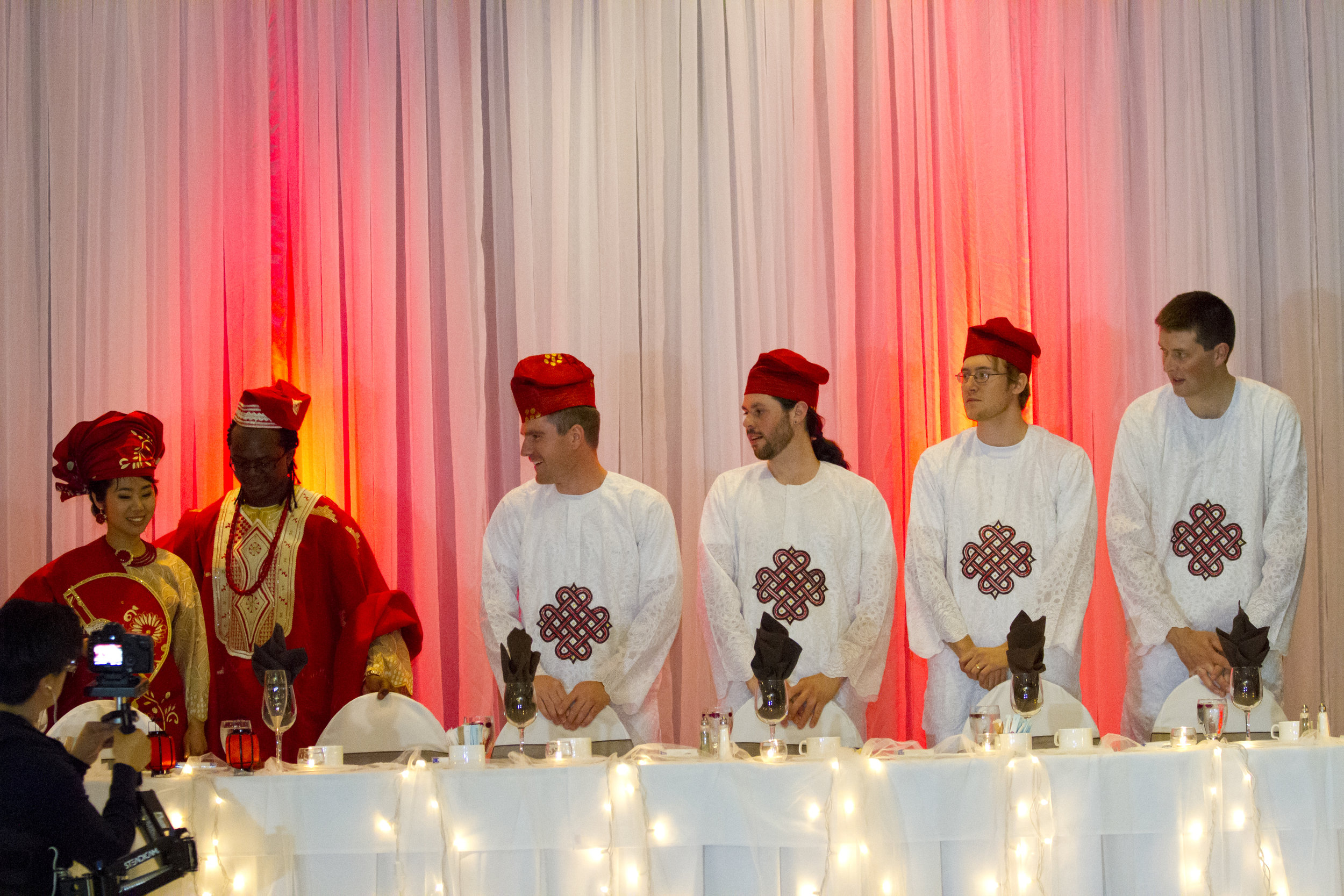 For the reception - the groomsmen wore African attires