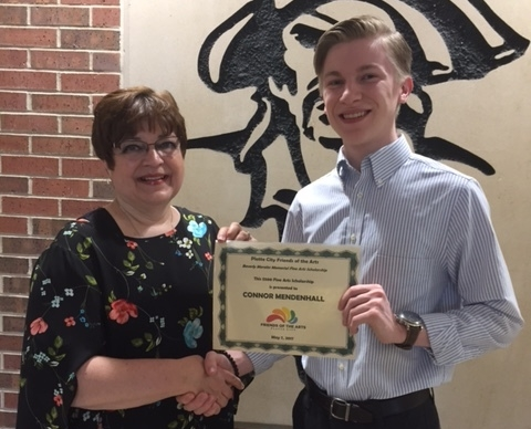 Connor Mendenhall - 2017 Theatre Arts Scholarship Recipient with Chairperson Susan Anderson Connor went on to Millikan University in Decatur, Illinois to study and earn a Bachelor of Fine Arts in Acting.
