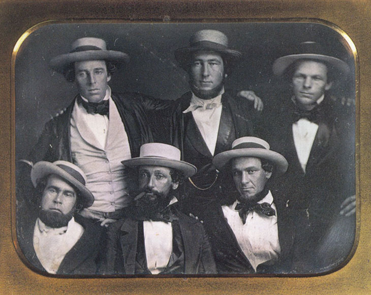"Members of the Knickerbocker Base Ball Club in 1845, including Alexander Cartwright (top middle) and Daniel ""Doc"" Adams (bottom middle)."