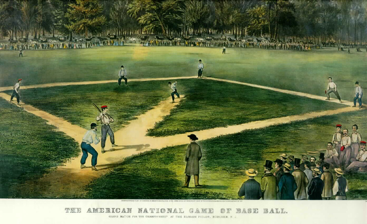 Painting of an early base ball game at the Elysian Fields of Hoboken, NJ, where clubs such as the Knickerbockers played.