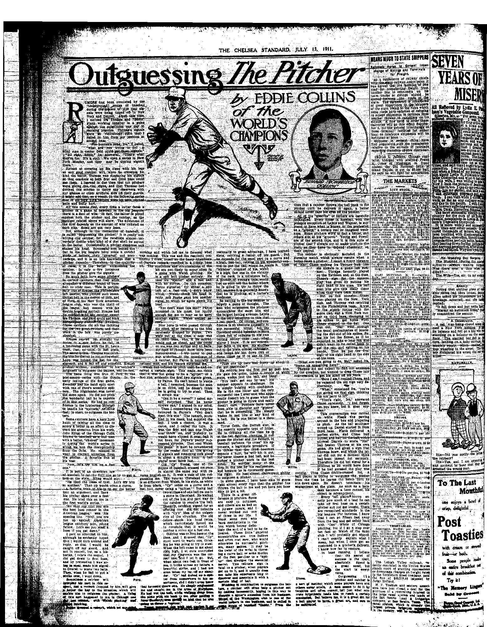 1911 - a fine feature on the popular national pastime, printed in our local paper
