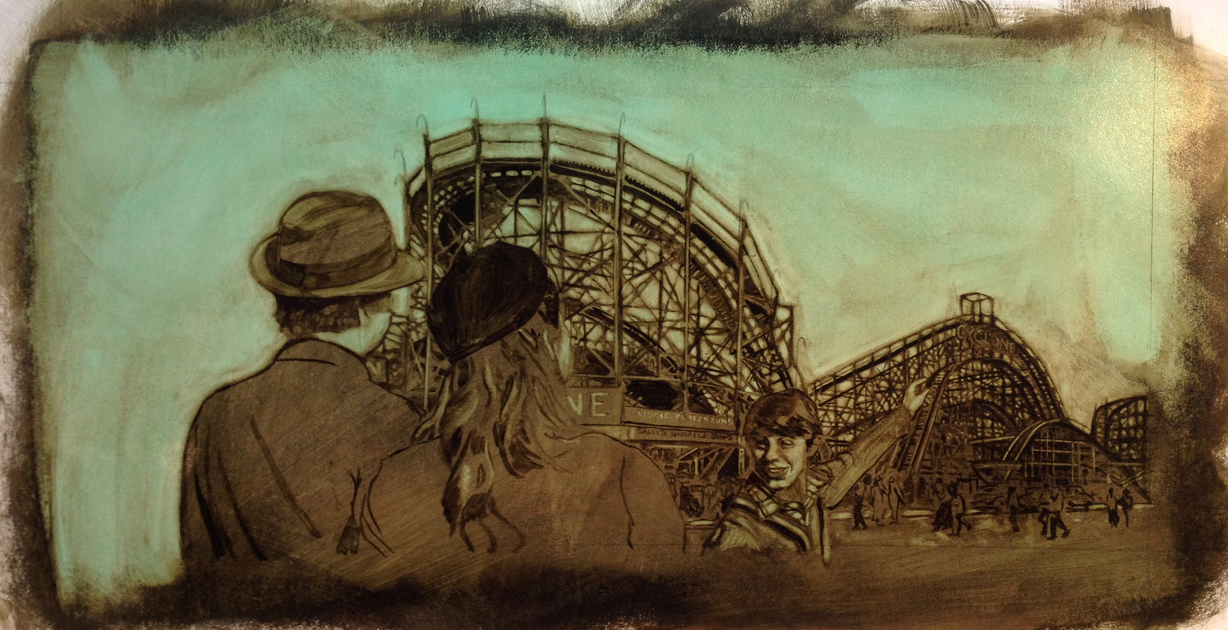 Arriving at Coney Island Underpainting