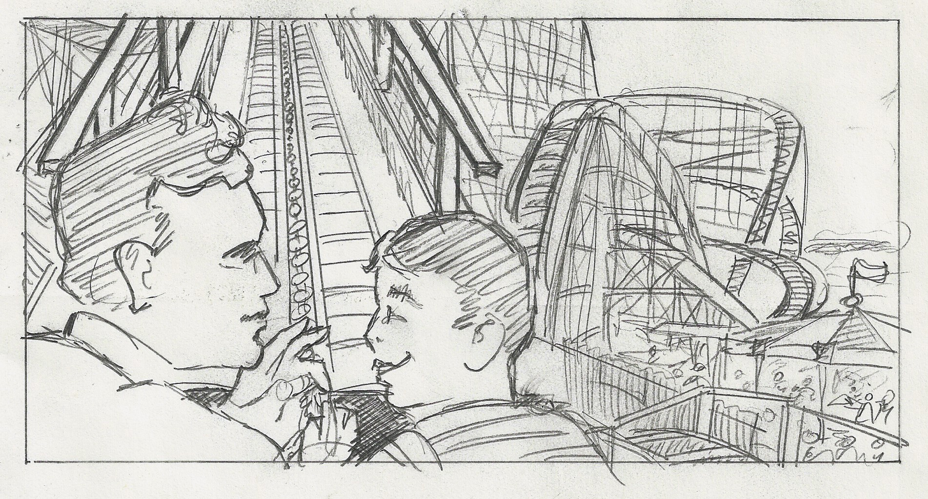 Sketch for Father and Son Ascending The Coaster