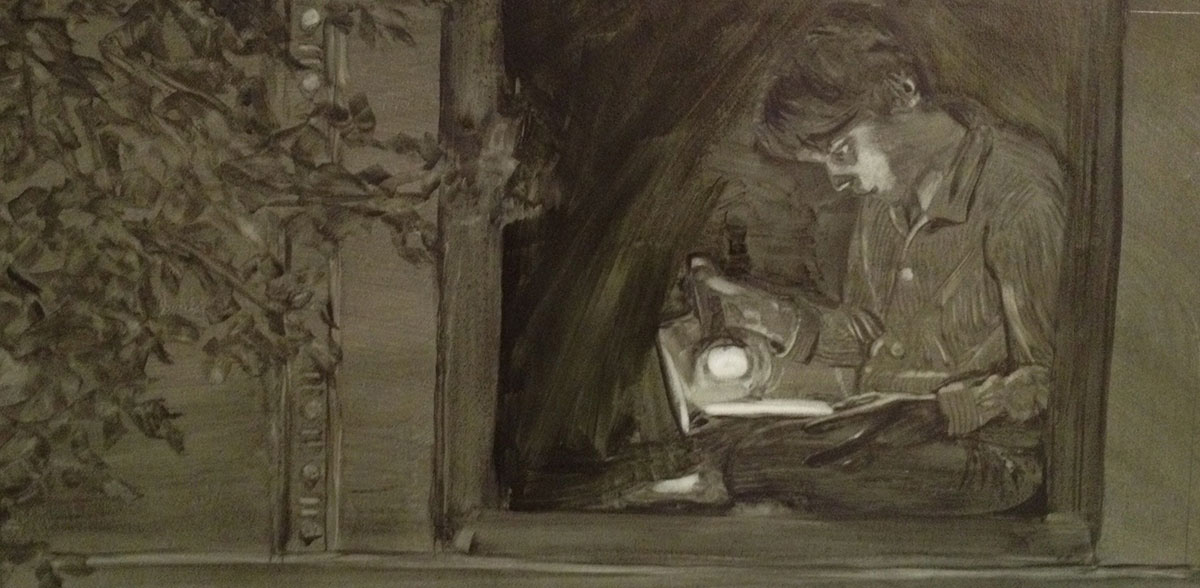 Night Reading  underpainting from  The Sound of All Things