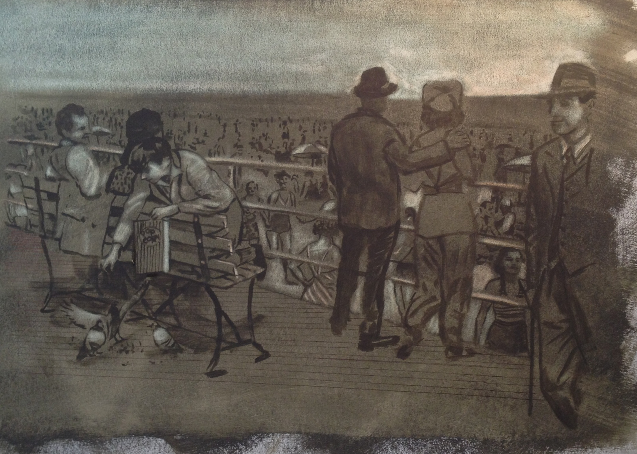 Coney Island Beach and Boardwalk Underpainting