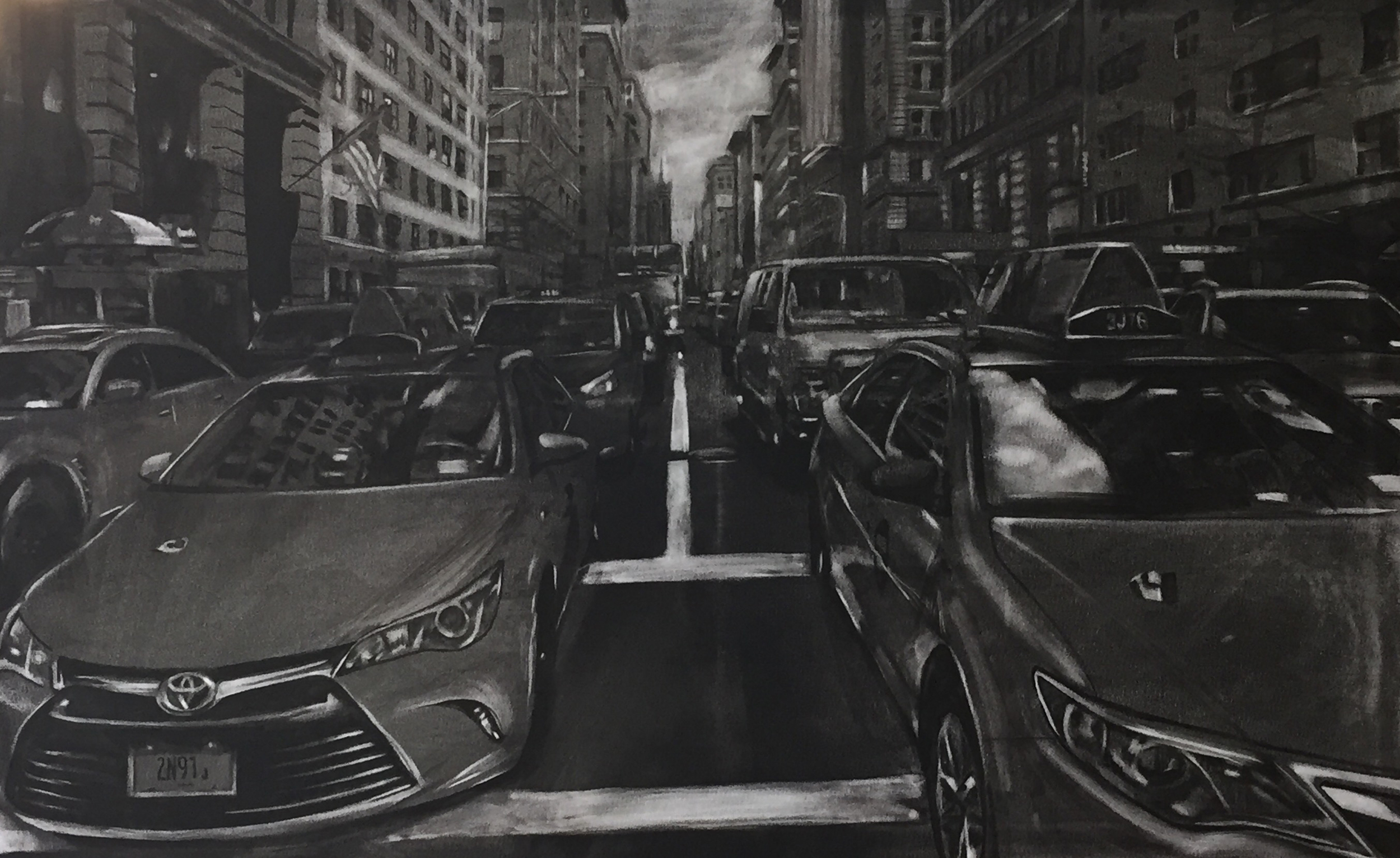 5th Avenue Taxis Underpainting
