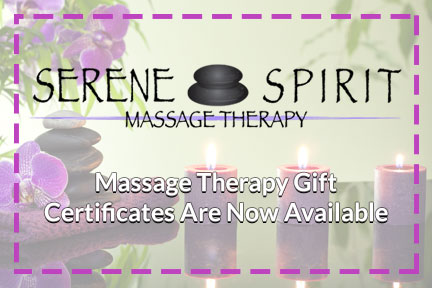 Massage Therapy Gift Certificates Are Now Here! - Gift the gift of massage therapy, call or email for more information.