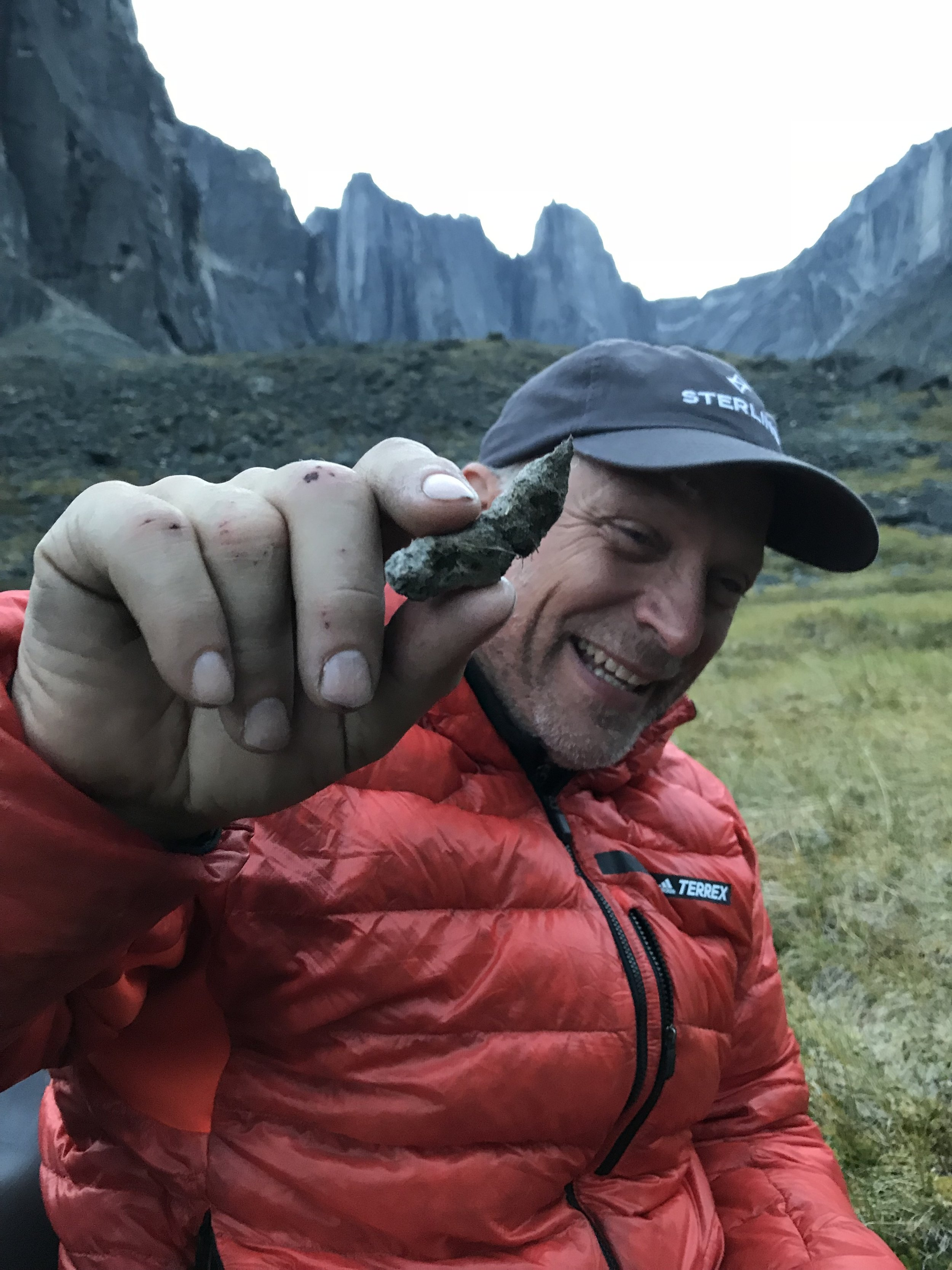 Jim, very proud of his marmot poop and maybe a little Scotch drunk