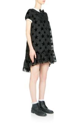 Saint Laurent Flocked Hi-Low Ruffle-Hem Dress