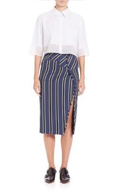 Acne Studios  Asymmetrical Striped Pencil Skirt
