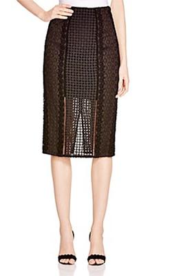 Rebecca Taylor  Mixed Lace Pencil Skirt