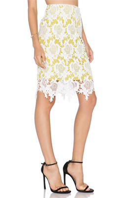 Harlyn  Pencil Skirt in Chartreuse