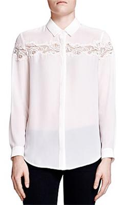 The Kooples  Floral Lace Crepe Shirt