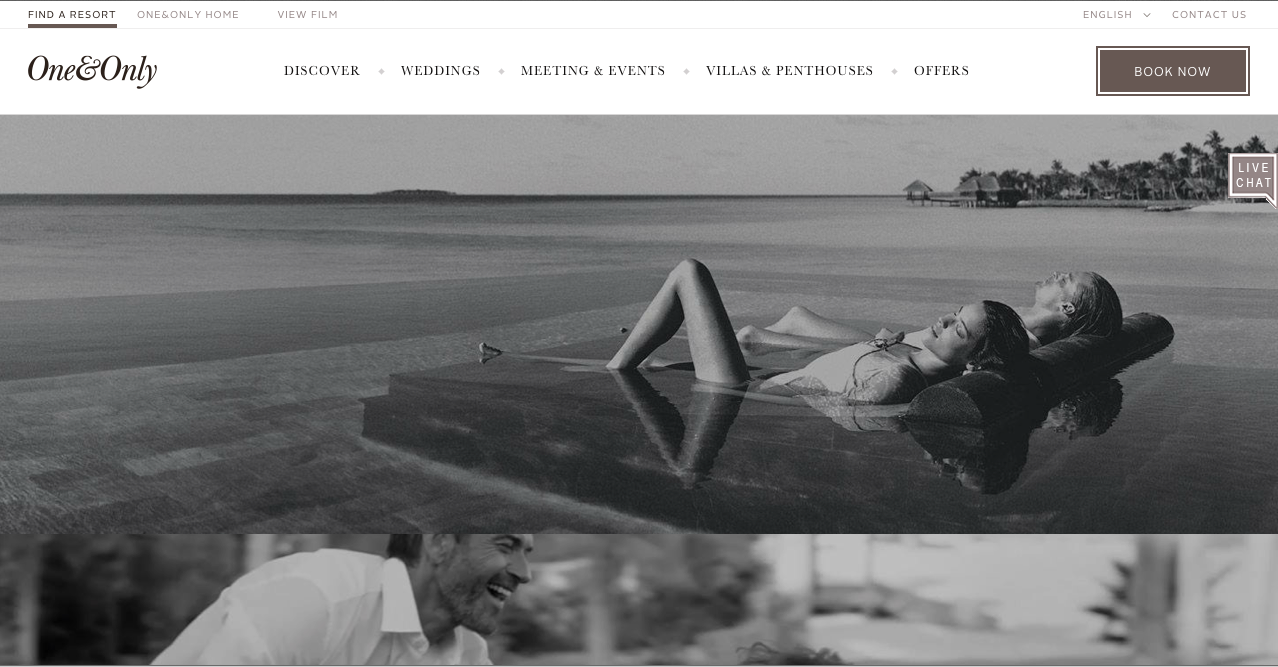 One & Only Resorts  UX, Website & Booking Engine