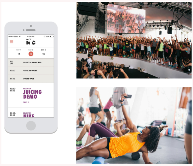 In the app, attendees signed up for a variety of sessions, such as barre3, Barry's Bootcamp, Flywheel and Exhale Yoga. RFID integration allowed for seamless onsite check-in, as well as immediate access to photos taken by roaming photographers.