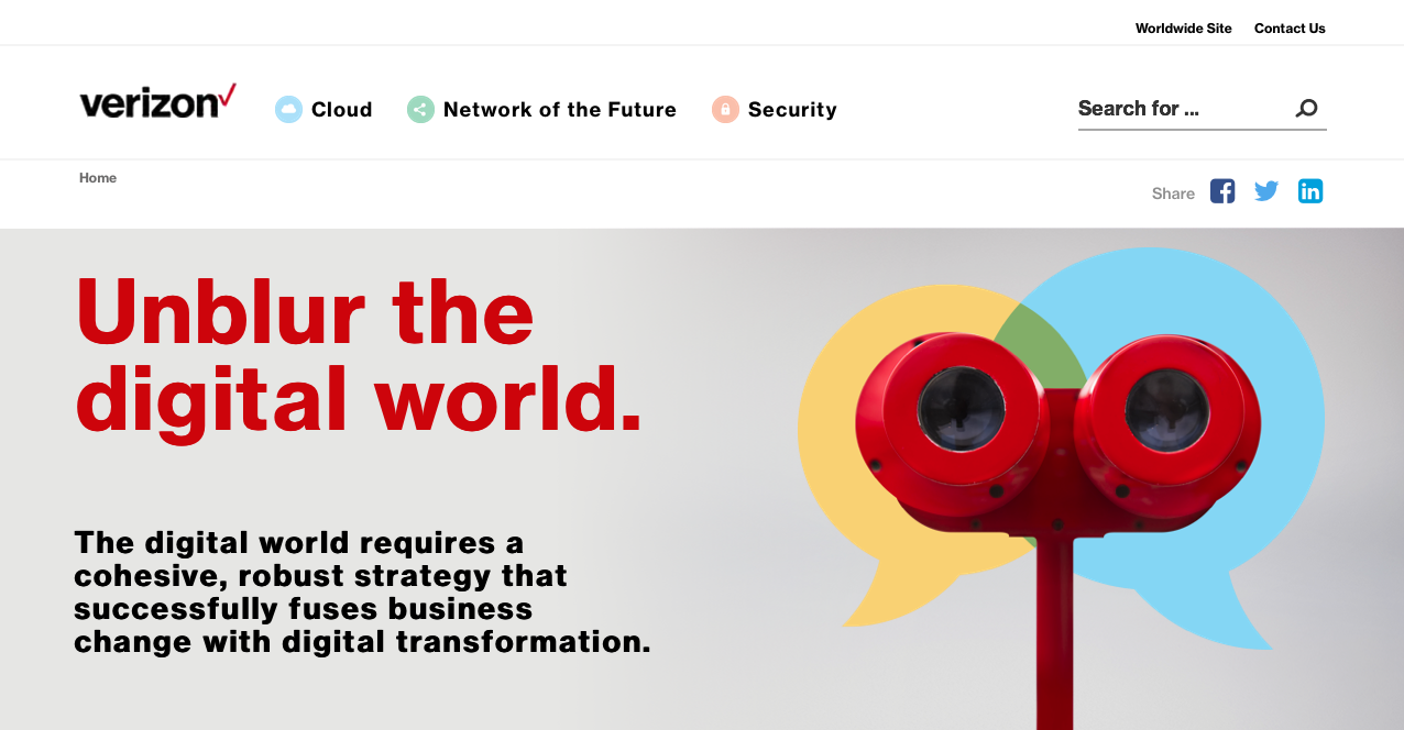 Verizon APAC  'Unblur the Digital World' - Microsite