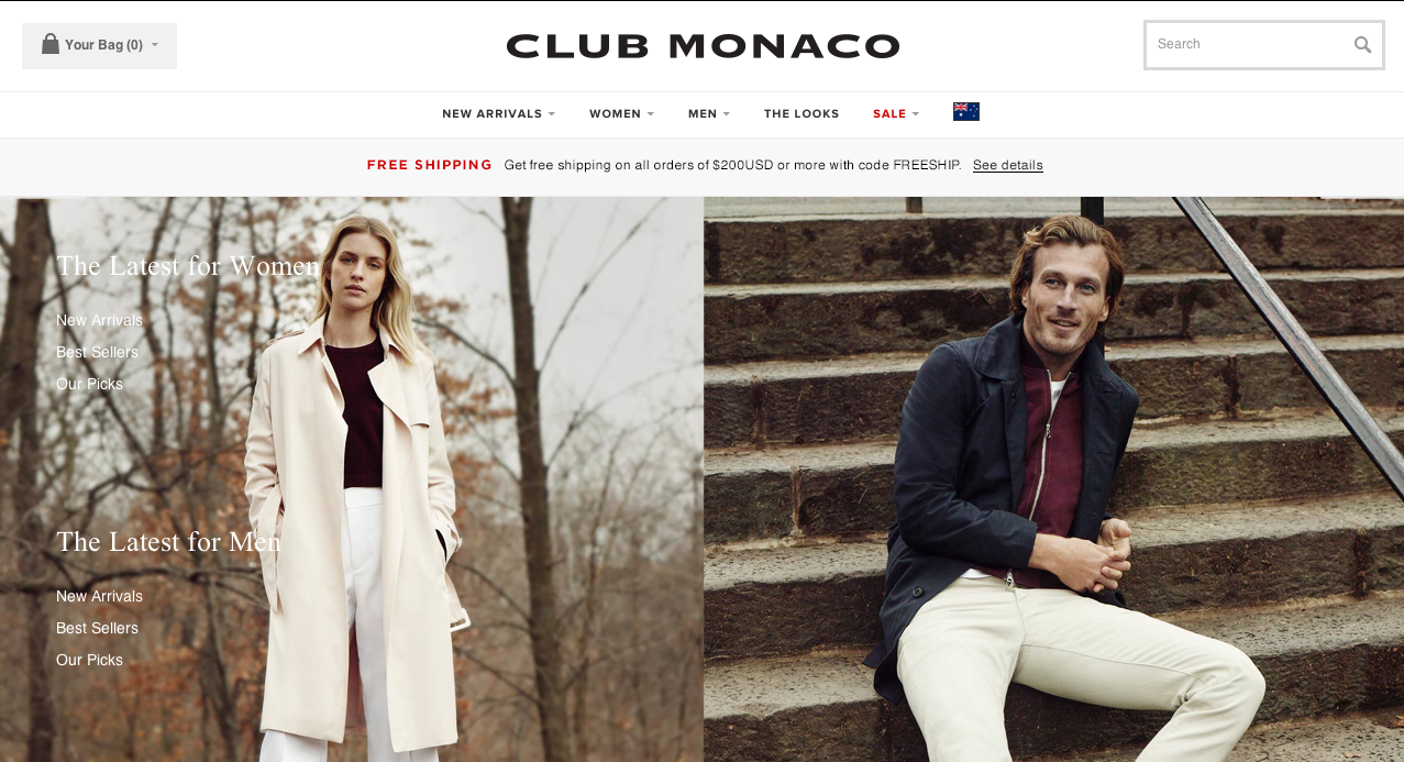 Club Monaco  website / navigation / blog