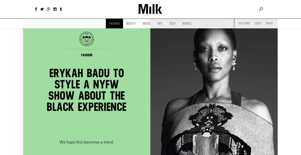 MILK - Website design / layout