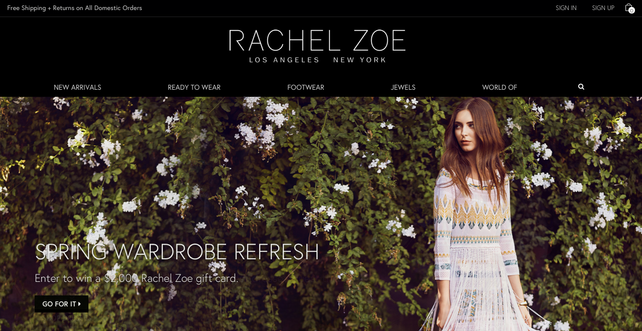 Rachel Zoe  e-Commerce website