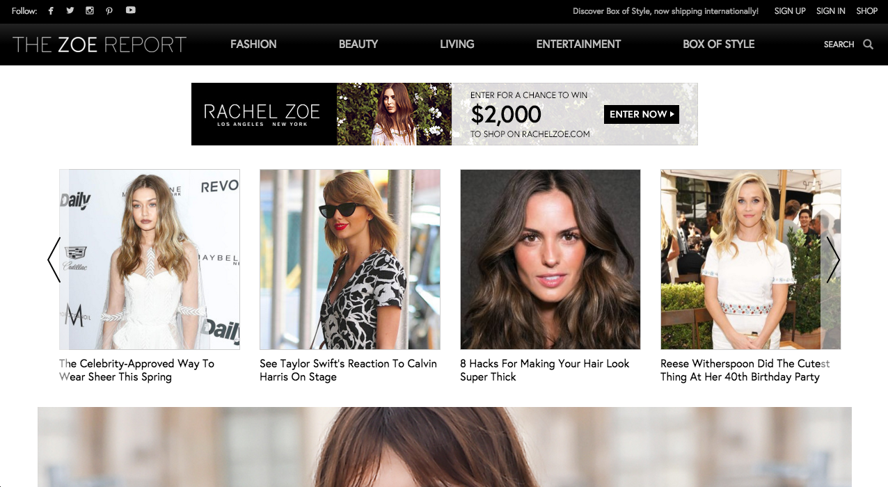 The Zoe Report  Home page & top navigation