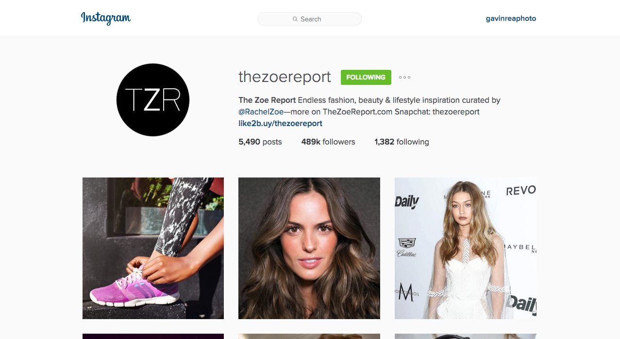 Social Media - Instagram @thezoereport