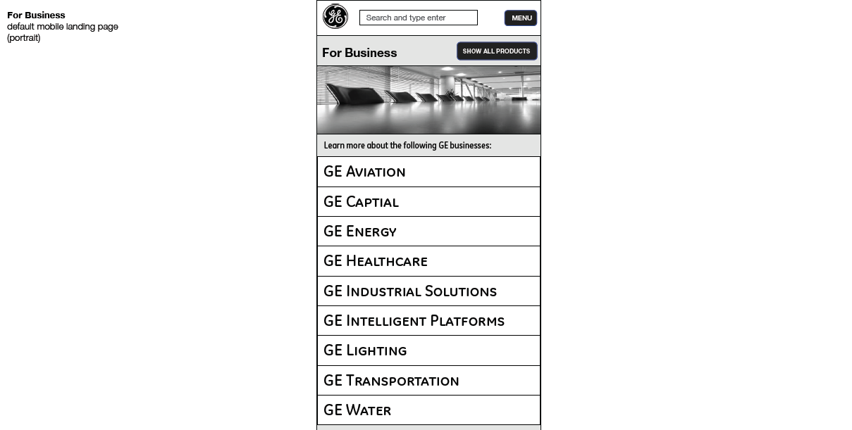 G.E. - Wireframes (Mobile Navigation)