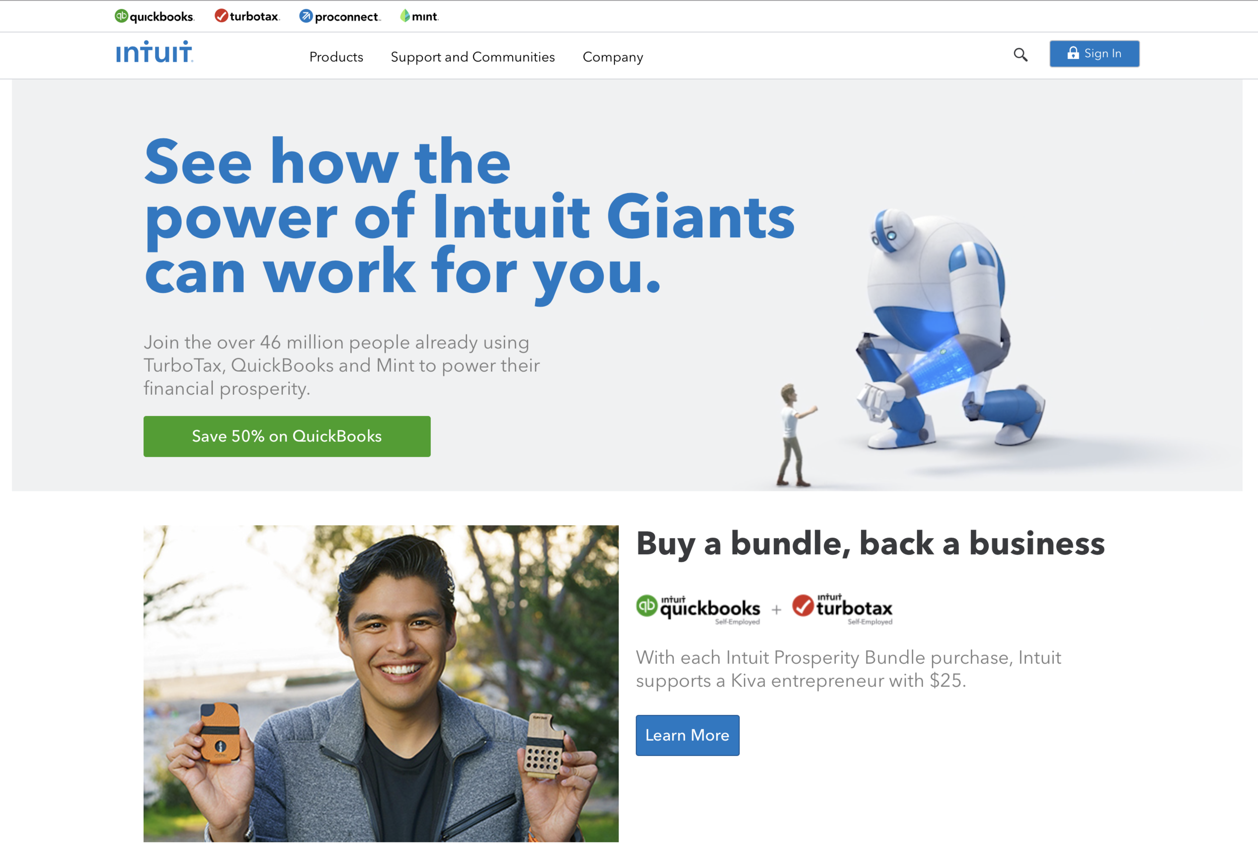 Website assets: INTUIT Homepage  As part of the Giant Story campaign the INTUIT.com website was also updated with new content.