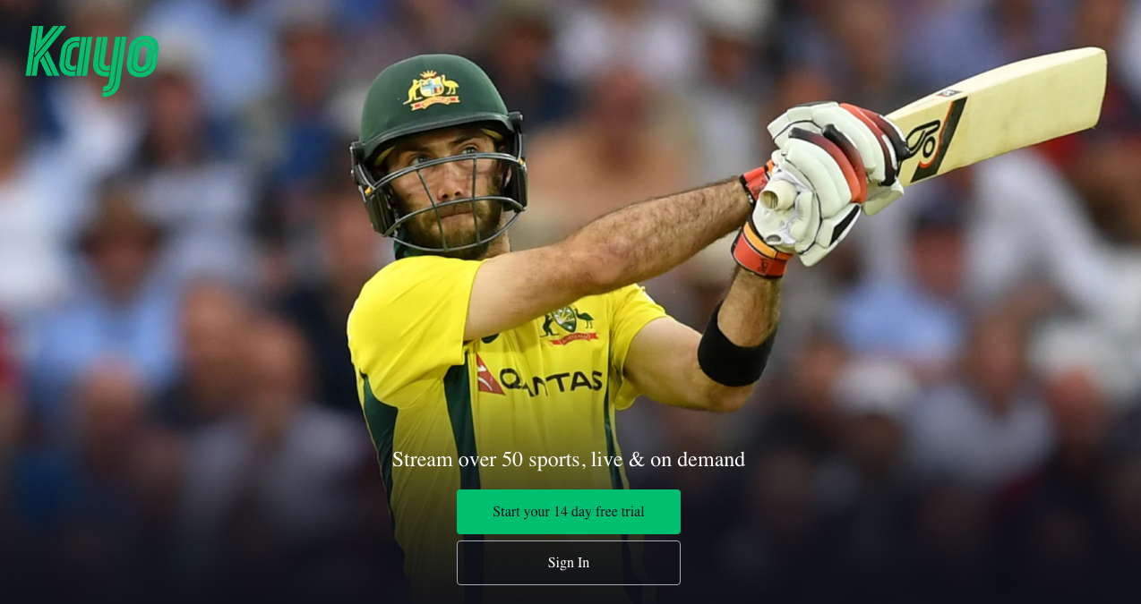 Sign up and landing page www.kayosports.com.au