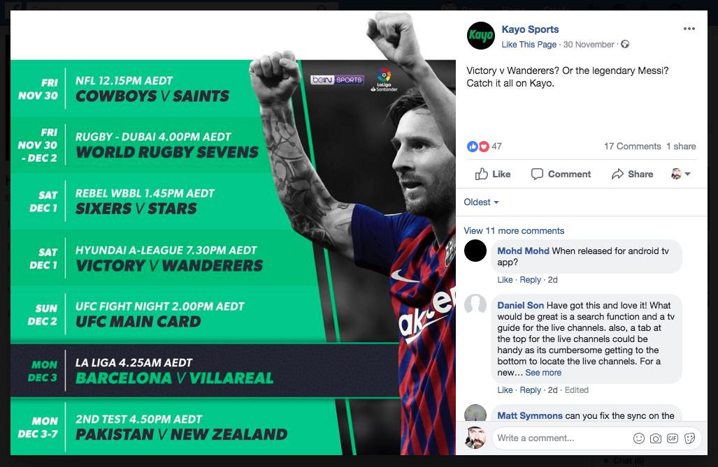 Kayo Sports social media post