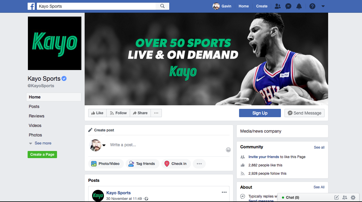Kayo Sports Facebook page featuring Ben Simmons