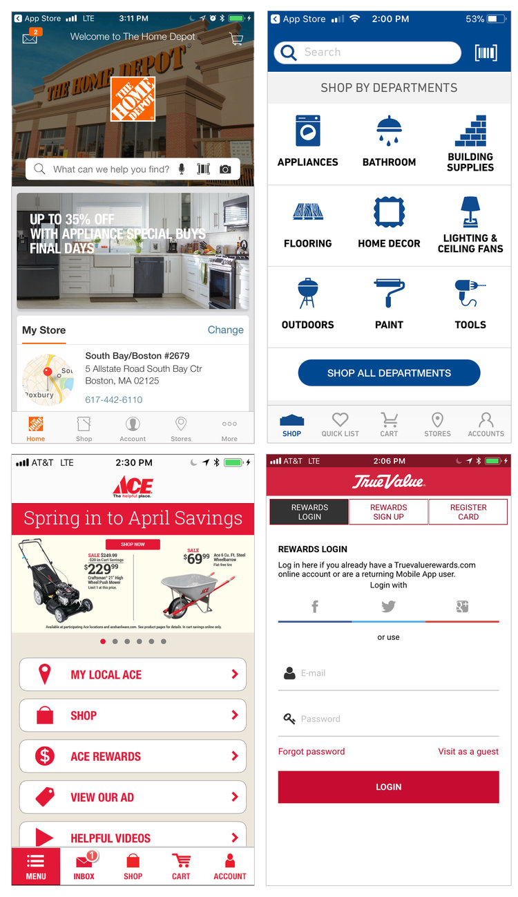Competitive Analysis Screens (The Home Depot, Lowes, Ace Hardware, True Value)