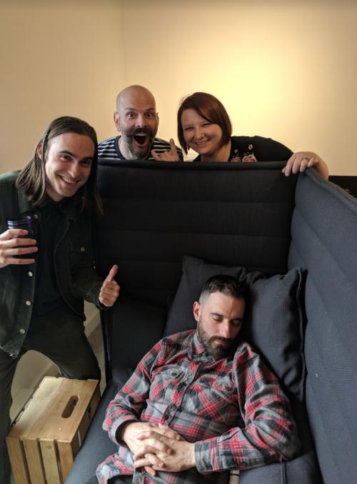 (l to r) Billy Valvo, me, Amanda Reiter, and a sleeping Russ Greene.