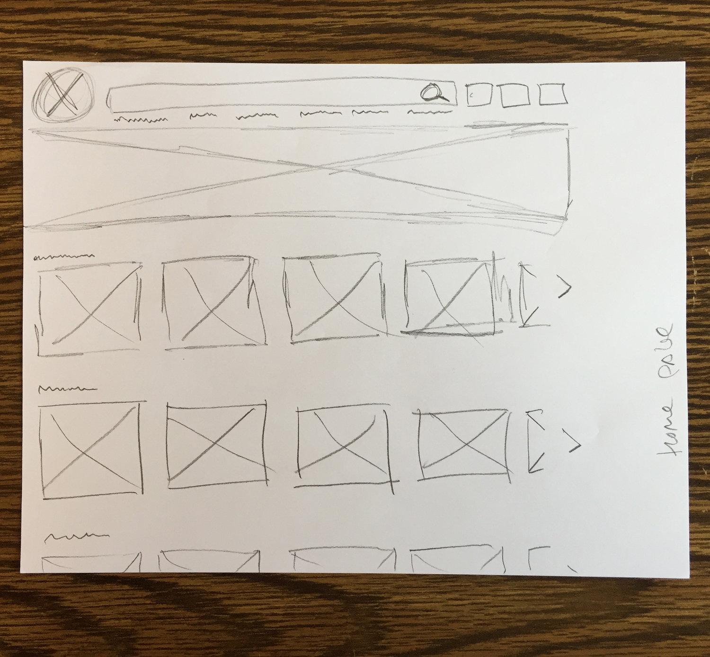Preliminary home page sketch.