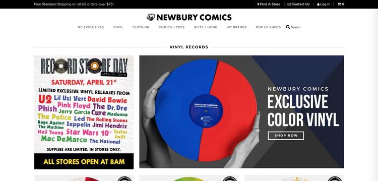 Newbury Comics' home page.