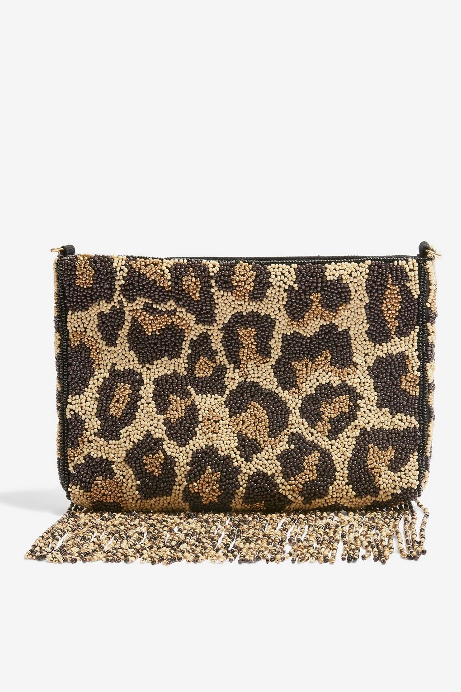 Beaded Leopard Print Cross-Body Bag