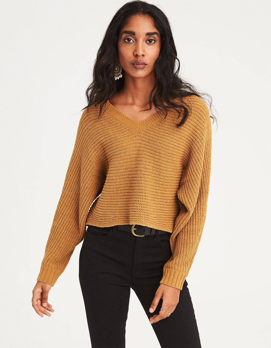 V-Neck Cropped Sweater
