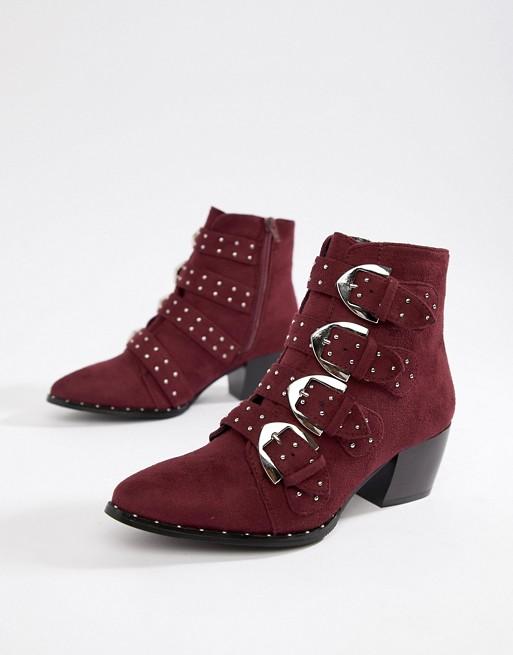 Burgundy Buckle Western Boots