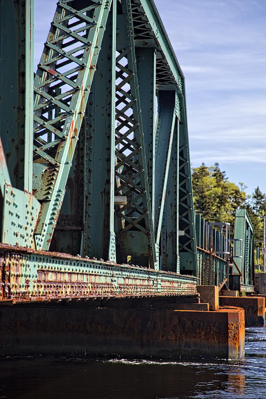 Old Bridge spanning the Mira River at Mira Gut, Cape Breton