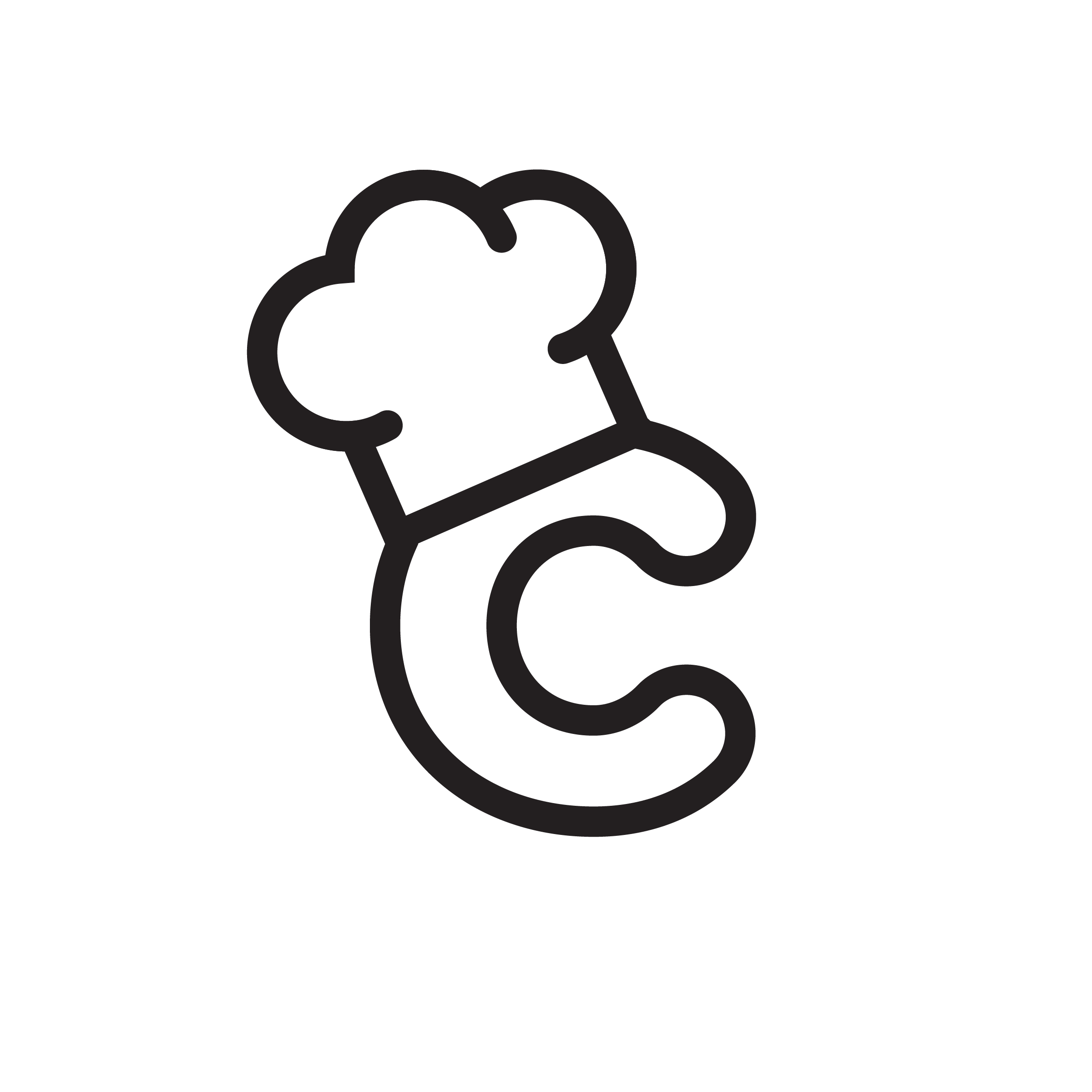 "This logo emphasizes the ""chef"" aspect of the product and how it helps people cook."