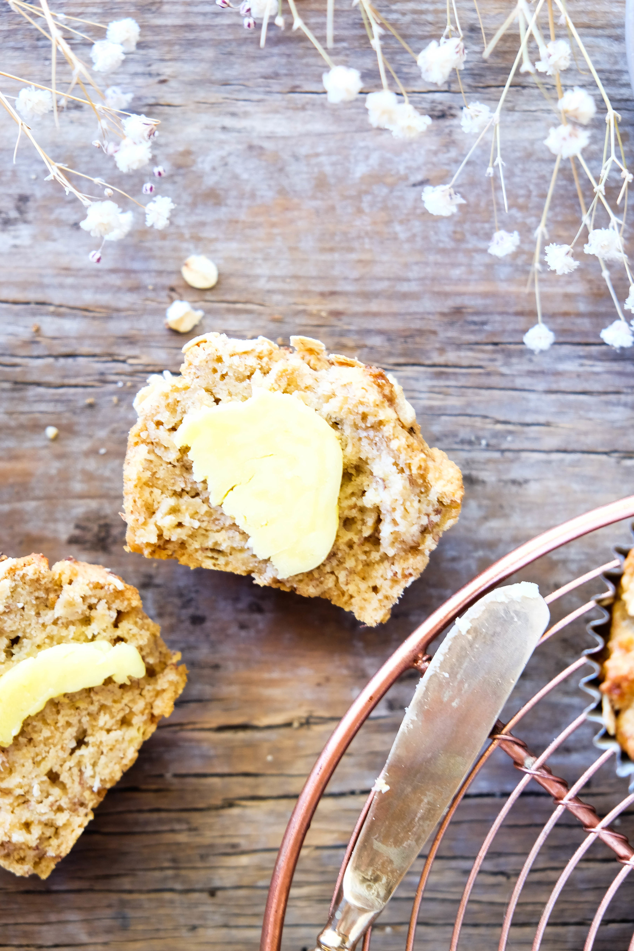 The perfect morning tea - healthy banana and oat muffins