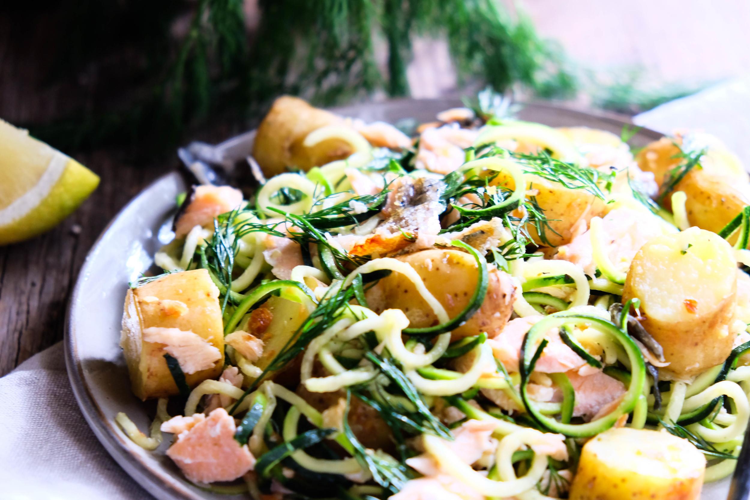 Warm salmon and potato salad