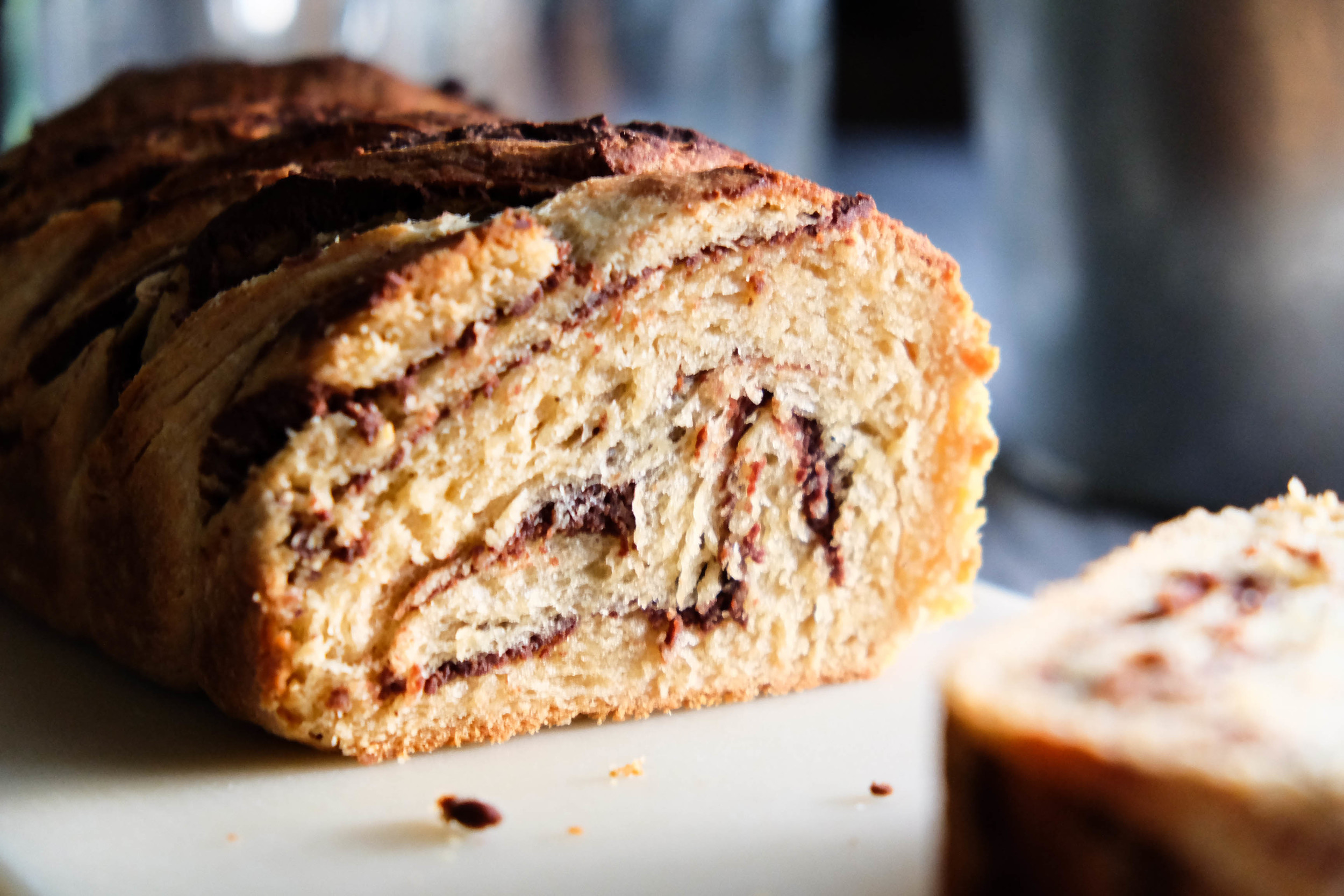 the middle of a perfectly baked healthy nutella babka