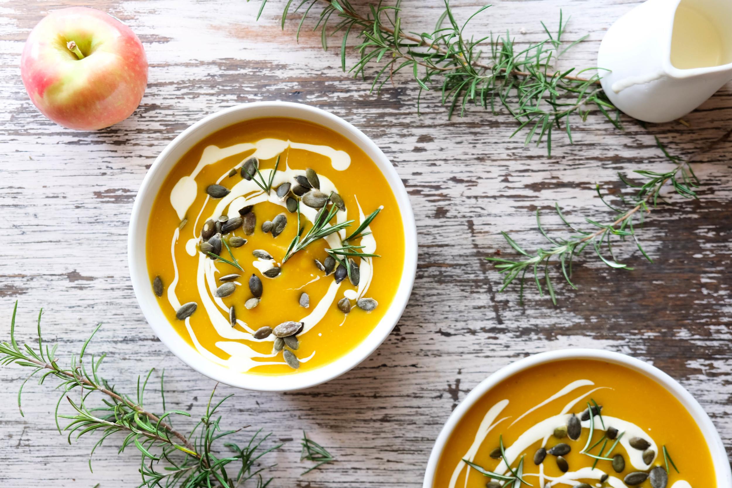 Butternut pumpkin, apple and rosemary soup