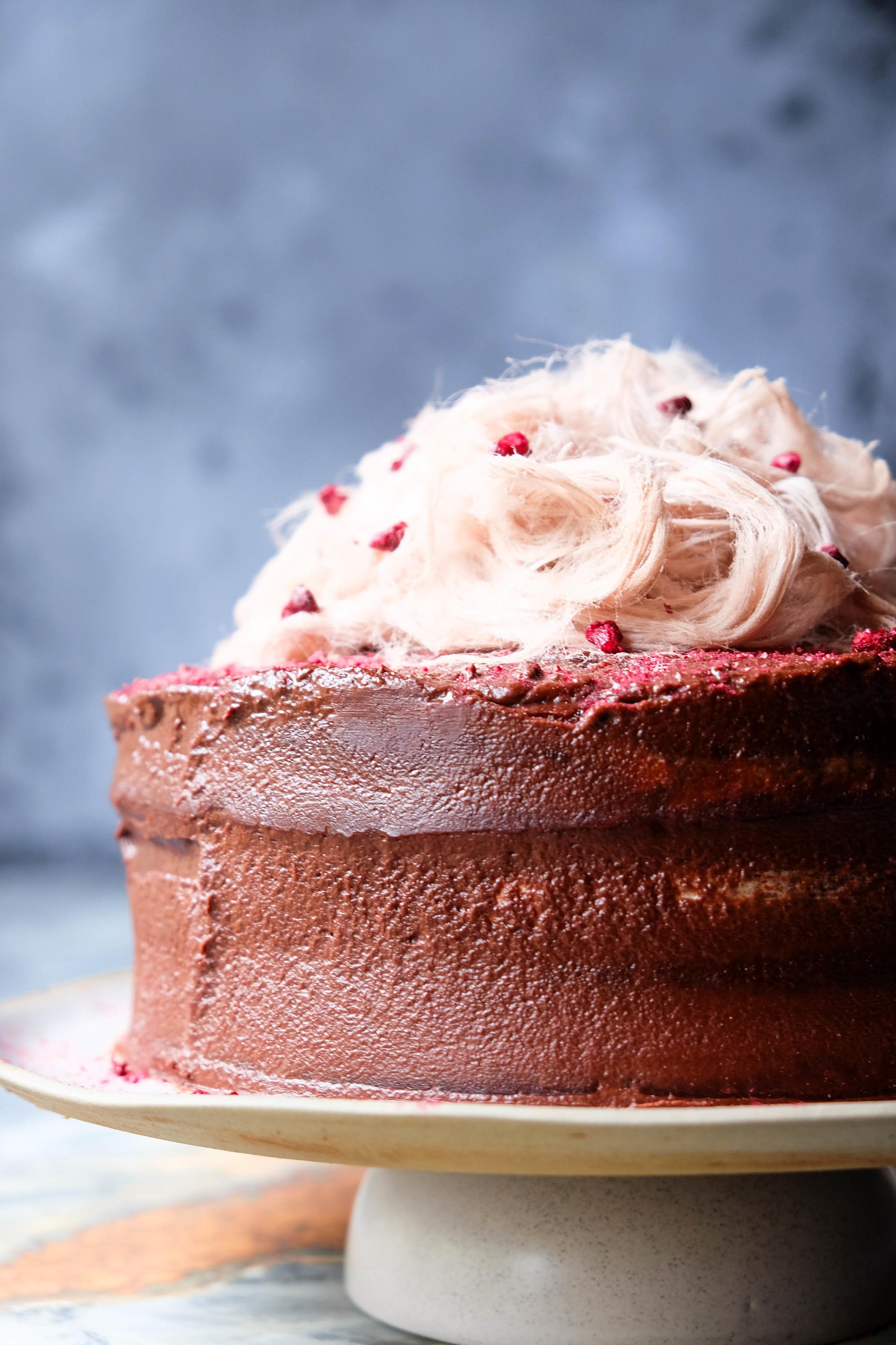 Dark chocolate pomegranate fudge cake