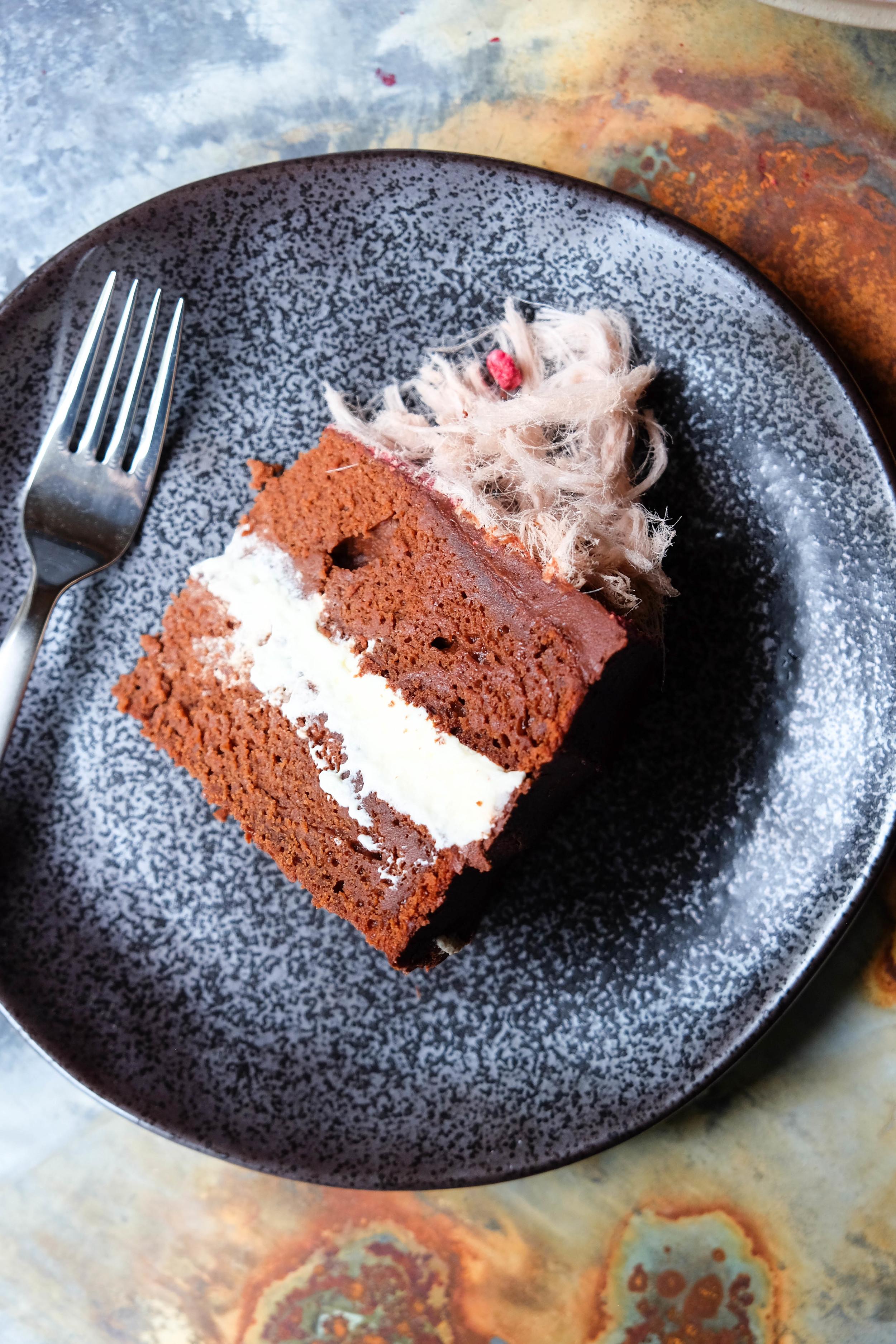 Dark chocolate and pomegranate cake