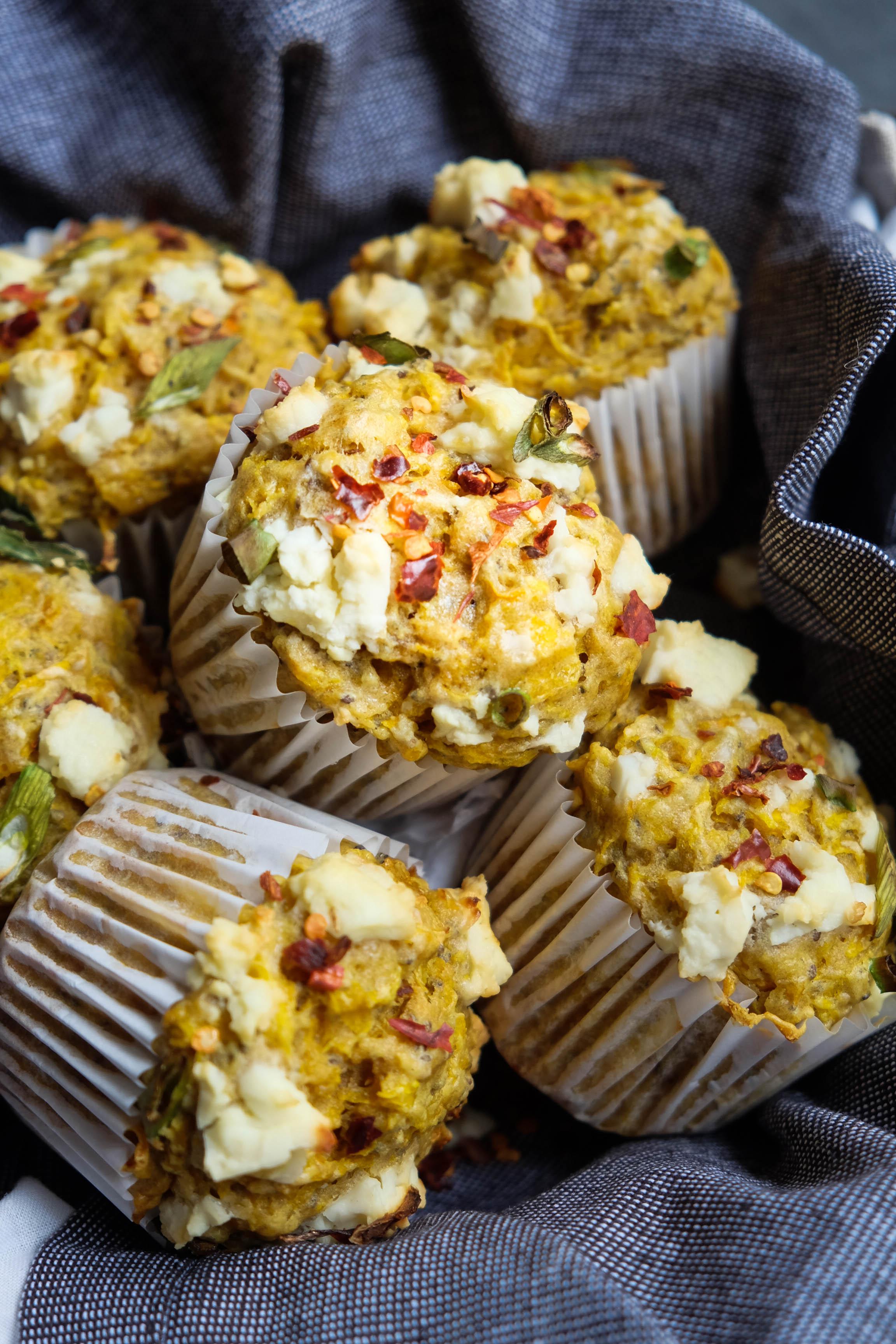 Healthy savoury butternut pumpkin muffins