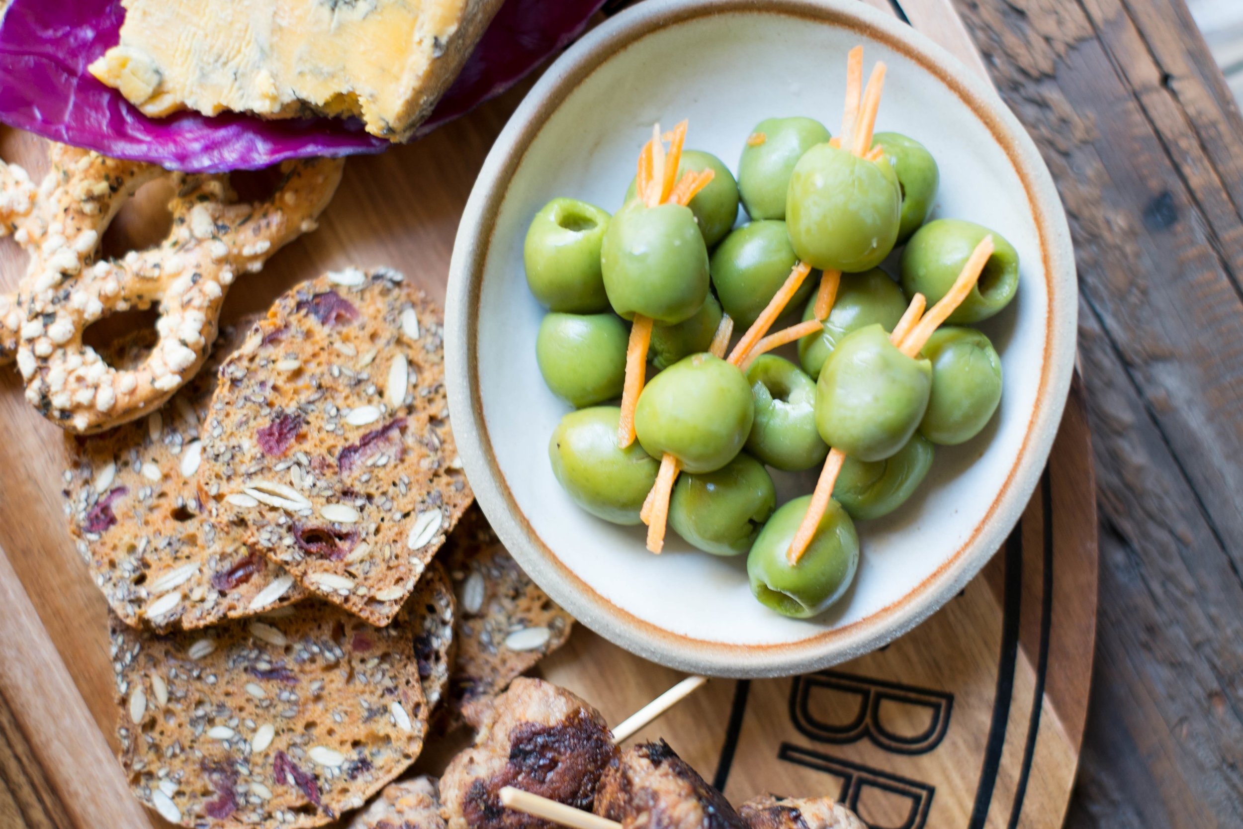 Olives with carrot for a fancy twist