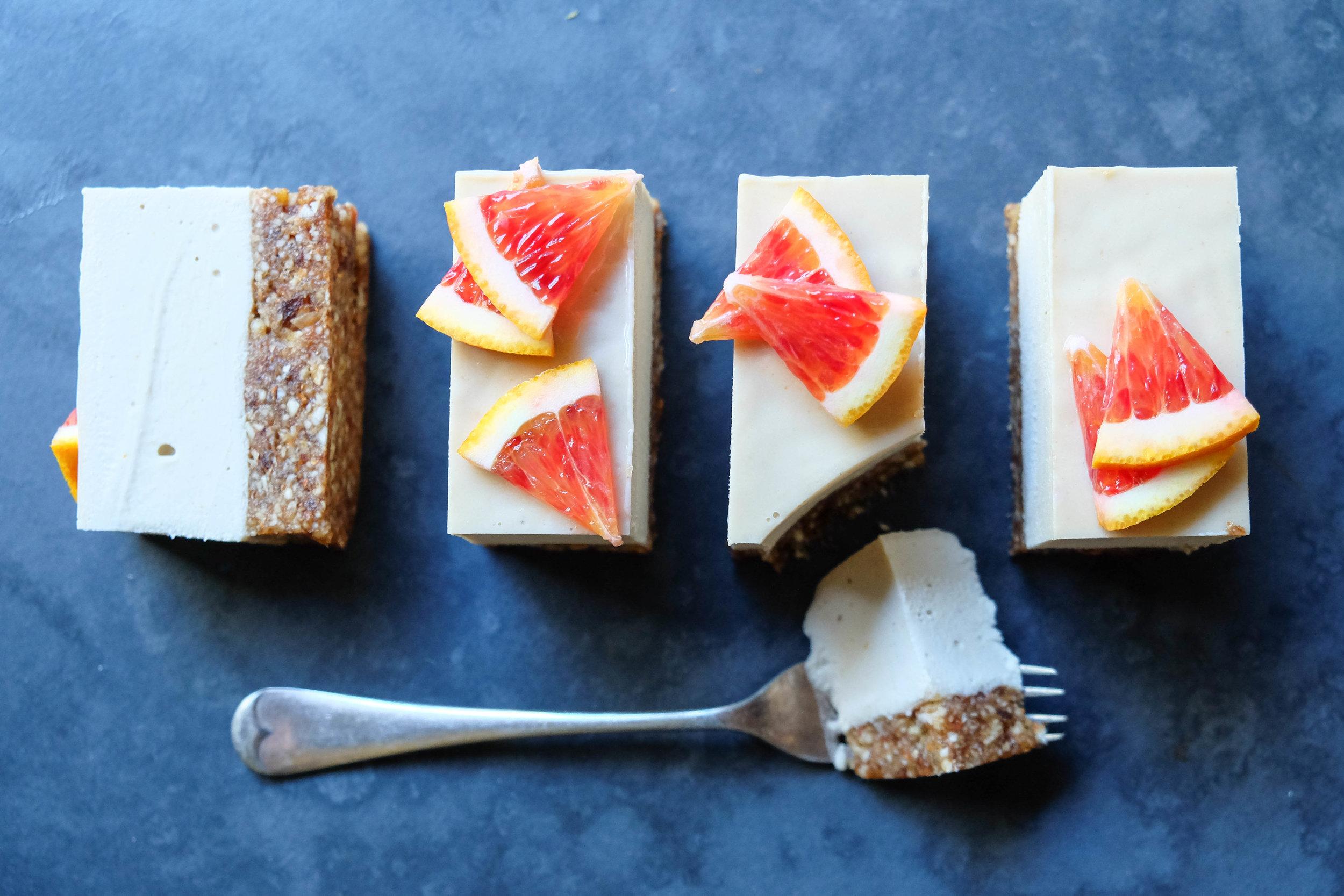 Raw orange cheesecake